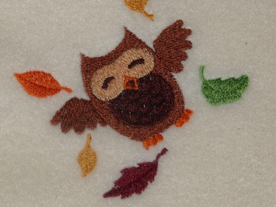 Personalized Embroidery Baby Fleece Blanket with Owl