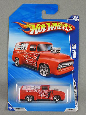 Hot Wheels '56 FORD F-100 PANEL TRUCK 2010 HW Performance #9 RED Variation