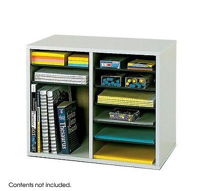 Adjustable Literature Organizer 12 Compartment Office Supply Desk Storage Gray