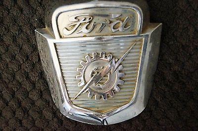 Vintage 1953-56 Ford Truck Crest Hood Emblem Lightning Bolt