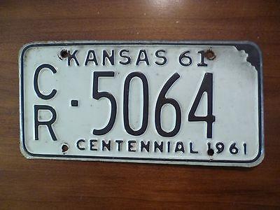 1961 Kansas Centennial License Plate     Excellent Condition