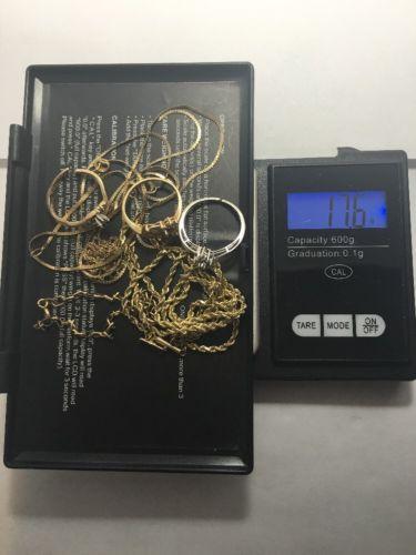 10K 14K SCRAP GOLD DIAMOND JEWELRY LOT 17.6 GRAMS TOTAL 14k=8.1g / 10k=9.6g