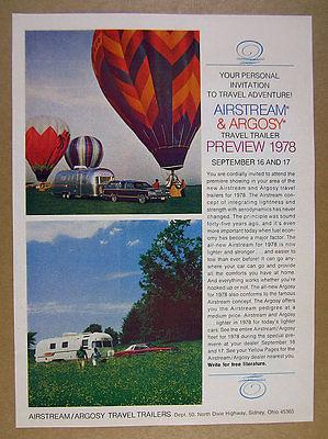 1978 Airstream & Argosy Travel Trailers color photos vintage print Ad