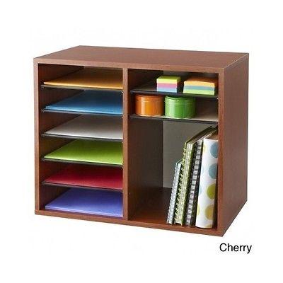 Adjustable Literature Organizer 12 Compartment Office Supply Desk Storage Cherry