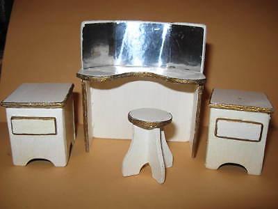 Vintage Dollhouse Furniture VANITY SET w/ Stool & 2 End Tables wooden wood doll