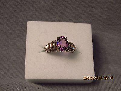 Sale! Vintage Retro 2 CT Purple Oval Nat Amethyst Ring .925 Sterling Silver Sz 6