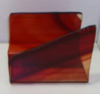 fused glass business card holder brown shades
