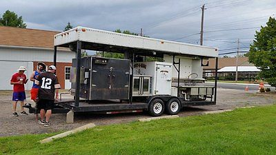 Used competition BBQ Trailer 26' - Smoker, Conv Oven,Refrgerator, freezer 4 sink