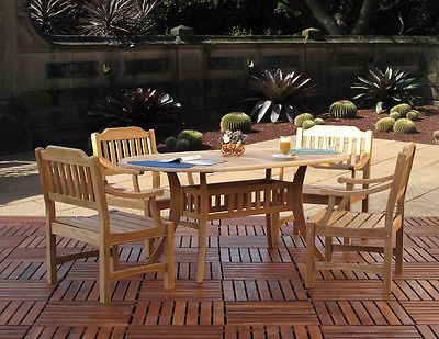 Premium Outdoor Patio Furniture Teak Dining 5PC Set [4-Arm Chairs, 1-Oval Table]