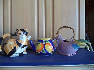 3 DECORATIVE WHIMSICAL TEAPOTS