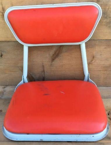 Vintage Red Vinyl Metal Folding Stadium Chair Boat Canoe Seat