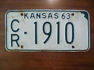 1963 Kansas  License Plate     Excellent Condition