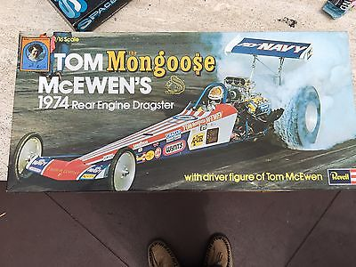 REVELL 1/16 TOM THE MONGOOSE MCEWEN'S 1974 REAR ENGINE DRAGSTER NEW IN BOX