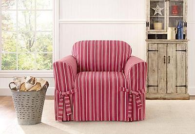 Chair Sure fit slip cover slipcover Grain sack stripe Red claret