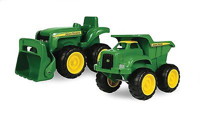 NEW Green Sandbox Vehicle 2pk, Truck and Tractor by John Deerek, Durable Plastic