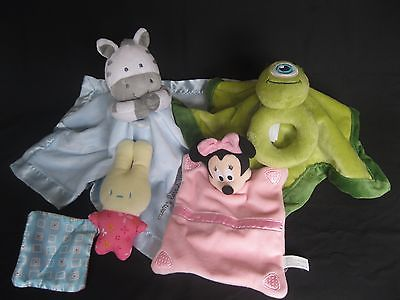 Disney Minnie Mouse Monsters Inc Carter's Blue Zebra Lovey Security Blanket Lot