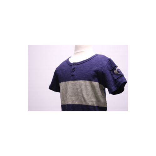 APPAMAN NWT Navy Blue W Gray Band On Chest Boys 2 Button Cotton SS T Shirt Sz 4T