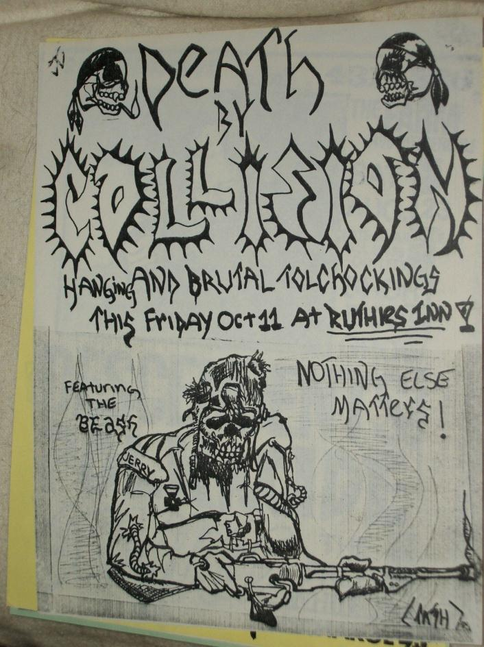Death By Collision Hanging Brutal Tolchockings Gig Flyer Ruthies Berkeley 1985
