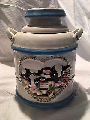 Cows with Hearts Cookie Jar Marked DHP N.Y.