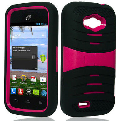 BLK/PK Rugged Impact Hard+Rubber Hybrid Cover Case ZTE Savvy Z750C Straight Talk
