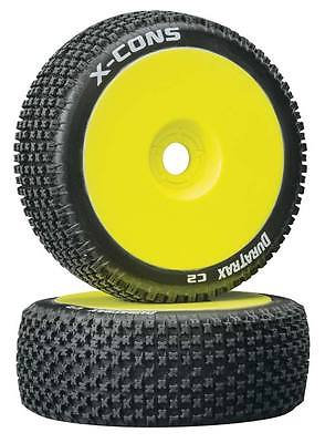 Duratrax X-Cons 1/8 Buggy Tire C2 Mounted Yellow (2) DTXC3612