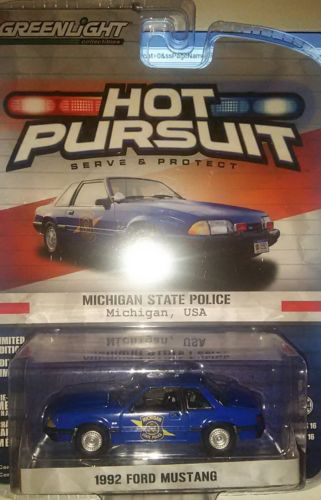 GREENLIGHT 1/64 HOT PERSUIT S 16 1982 FORD MUSTANG MICHIGAN STATE POLICE new