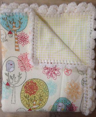 Baby Receiving Blanket with Hand Crochet Edge