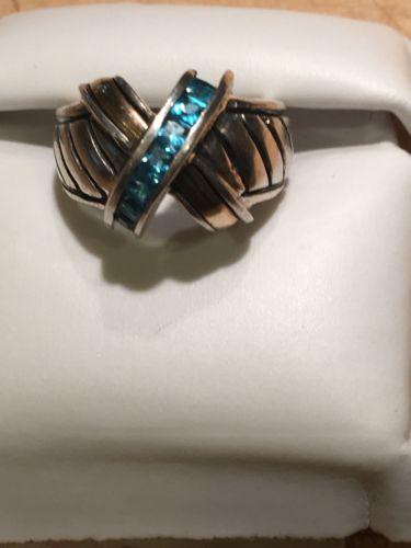 Beautiful Ring X Form JA 18k Sterling Vintage Blue topaz?