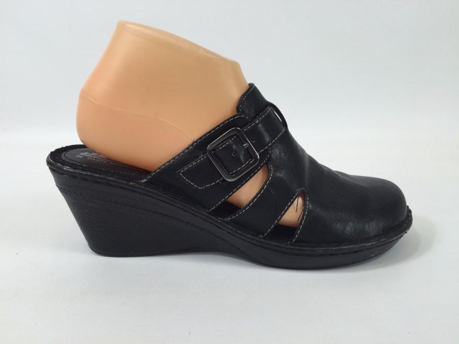 Cliffs by White Mountain Black Faux Leather Mules Women's Size 8 #13853