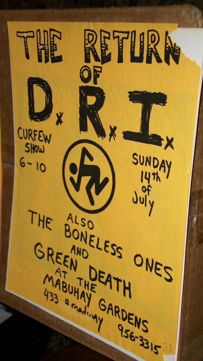 DRI Boneless Ones Green Death Gig flyer Mabuhay Gardens San Francisco 1985