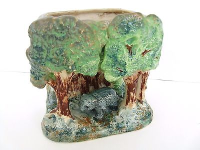 ANTIQUE MAJOLICA GLAZED POTTERY PLANTER BEAR IN FOREST TREES PAINTED UNSIGNED