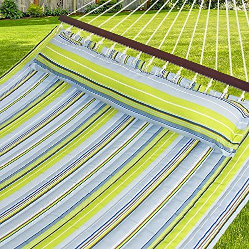 Hammock Quilted Fabric w/Pillow Double Size Spreader Bar, Blue and Green Stripe