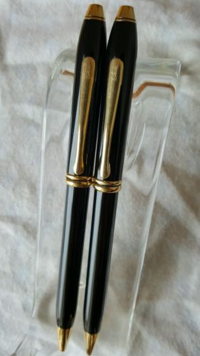 Cross Townsend Ballpoint Pen and 0.5 mm Pencil Glossy Black, Gold Made USA!