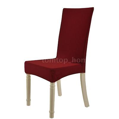 New Soft Polyester Spandex Dining Room Chair Cover Slipcover Removable Red Q6P3