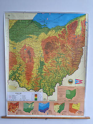 Nystrom Pull Down Old School Map Ohio Land Elevation