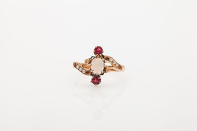Antique Victorian 1ct Natural OPAL Padparadscha Sapphire Pearl 14k Gold Ring
