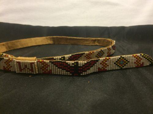 Old Vintage Adjustable Handmade Beaded HAT BAND Navajo Indian Native