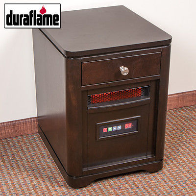 Duraflame Walnut Infrared End Table Heater with Drawer 10HET4128W502