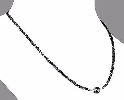 18 inches 3mm-4mm 60 cts Rough Black Diamond Necklace With 18K Gold Clasp