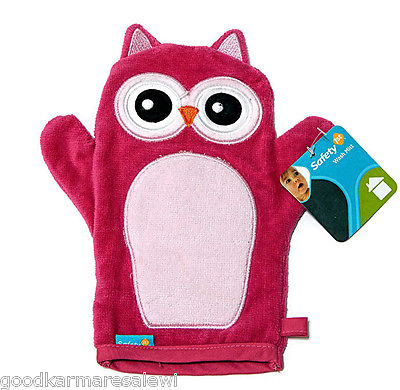Baby Bath Mitt Puppet Washcloth Owl Shaped by Safety 1st First Terrycloth Pink