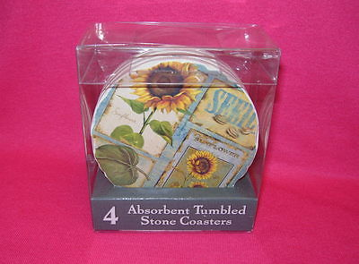 Highland Graphics ABSORBENT TUMBLED STONE COASTERS Set of 4 SUNFLOWERS