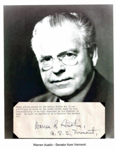 Warren R Austin Autograph Signed Quote Senator Ambassador Senator Vermont #2