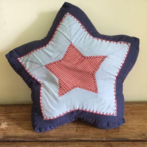 Pottery Barn Kids Decorative Stuffed Star Pillow Red Gingham & Blue