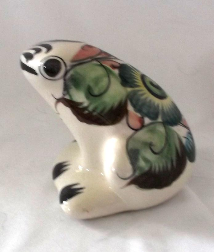 Vintage Hand Painted Mexican Pottery Frog Figurine