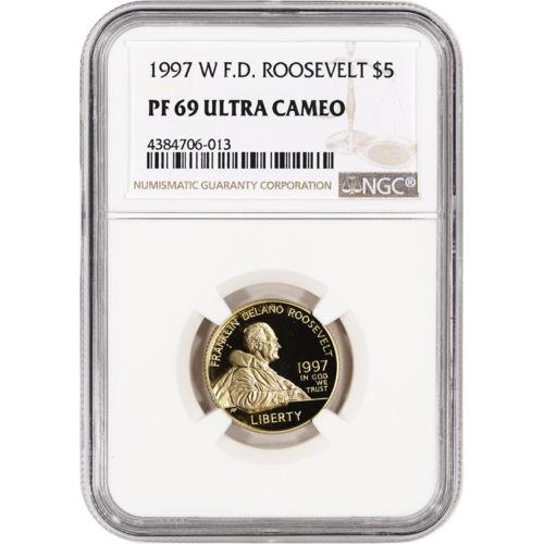 1997-W US Gold $5 Franklin Delano Roosevelt Commemorative Proof - NGC PF69 UCAM