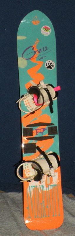 VTG Gnu Antigravity Aerospace Snowboard 156 Cm Pink Orange Blue Elfgen Binding