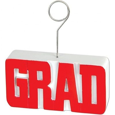 GRAD Photo/Balloon Holder (red) Party Accessory (1 count). Huge Saving