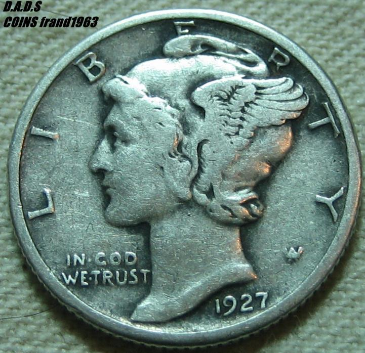 1927-P MERCURY WINGED LIBERTY SILVER DIME **SHIPS FREE** MDL104