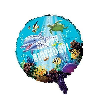 Ocean Party Happy Birthday 46cm Balloon. Free Shipping