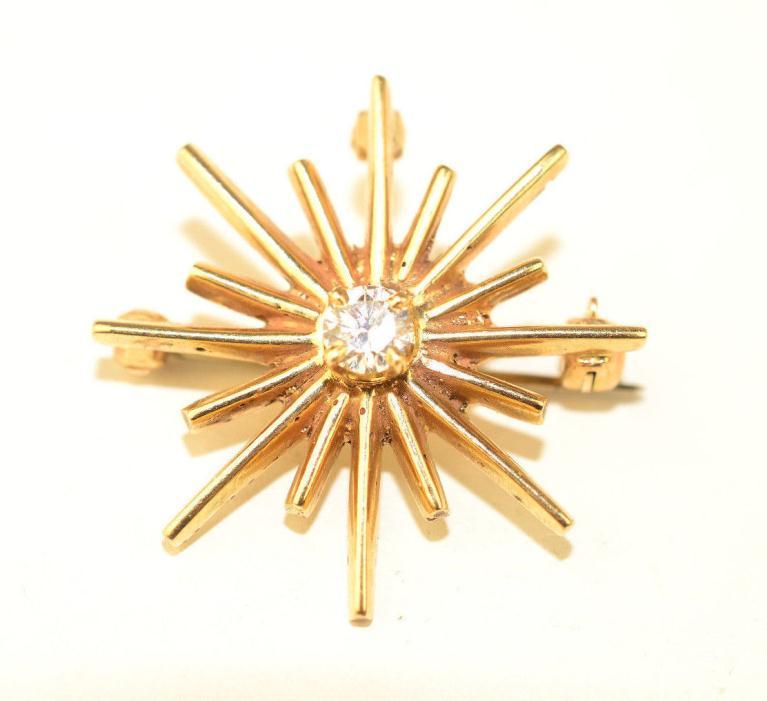VINTAGE 14K YELLOW GOLD STARBURST .20 CARAT DIAMOND PIN / PENDANT 1 IN. DIAMETER